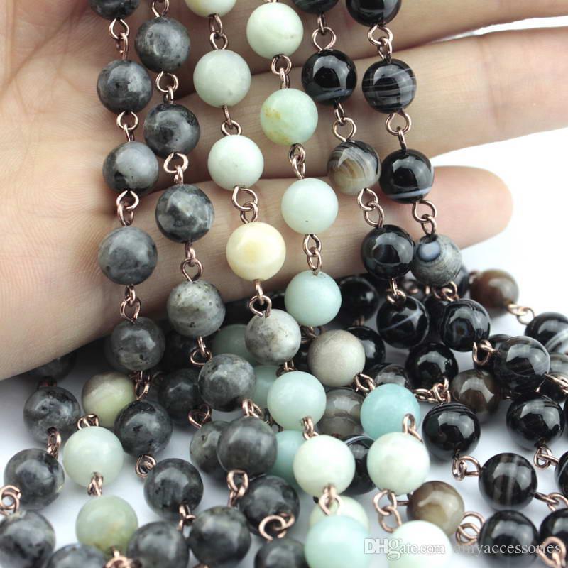 Collana Corno di vendita caldo Amazonite Pietre Dichiarazione collane della catena a mano di pietra naturale Boemia monili tribali