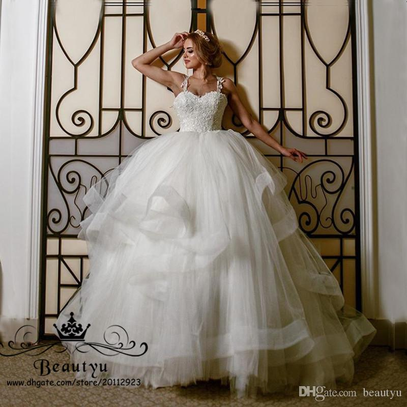 Victorian Princess Lace Ball Gown Wedding Dresses Spaghetti Straps Corset Ruffle Tiered Skirt Puffy Country Bridal Gowns 2018 Quality Custom Drop Waist