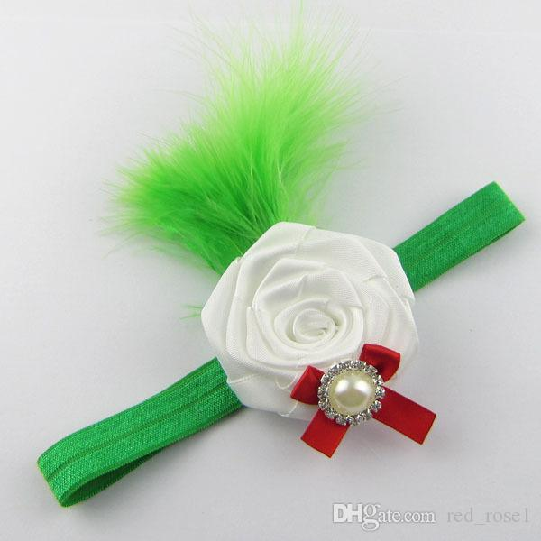 Kids Baby pearl feather flower Party Headbands Girls Cute Bow Hair Band Infant Lovely Headwrap Children Bowknot Elastic Accessories