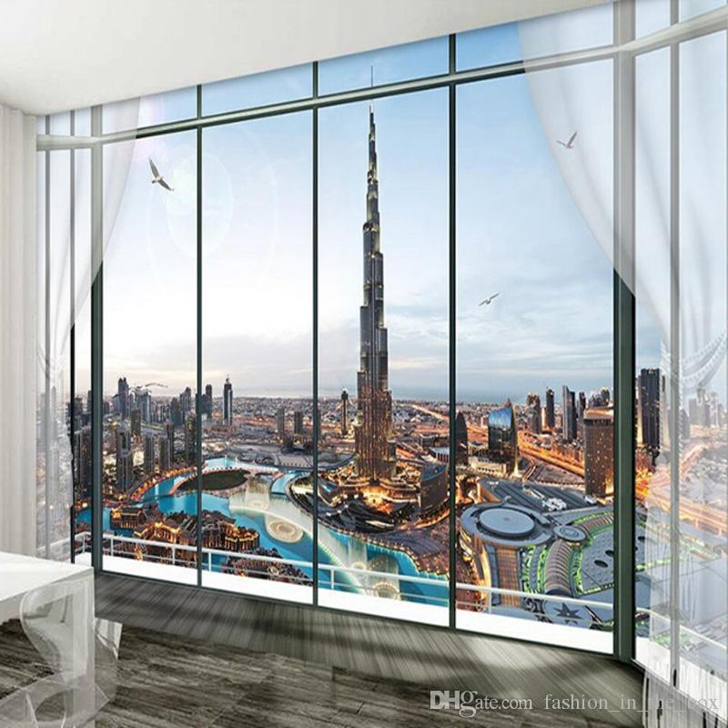 Custom Photo Wallpaper Dubai City Night 3d For
