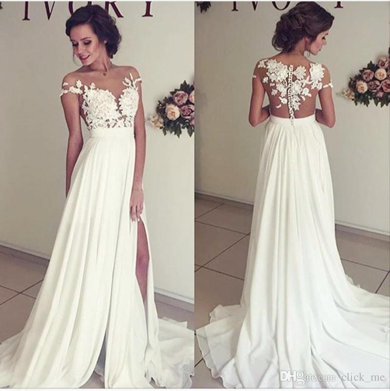 Gorgeous Wedding Dresses Cap Sleeves 3D Appliques Sheer Neck Sexy Wedding Gowns Leg Slits Chiffon Back Covered Button Vintage Bridal Dress