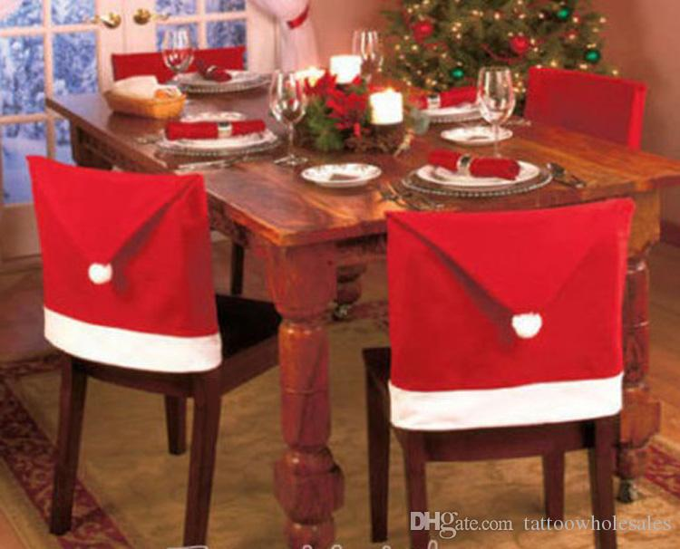 kitchen chair covers. Lastest Christmas Santa Red 50x60cm Kitchen Chair Seat Cover Decorations Dinner Covers For Party Decor Baubles To Decorate Cake