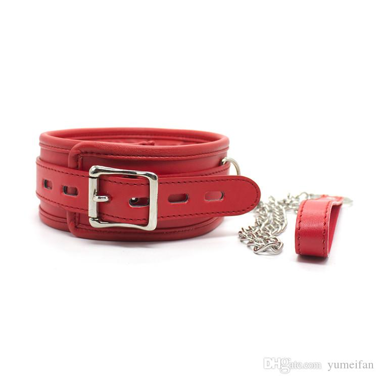 Soft Padded PU Leather Sex Bondage Female Neck Choker Collar with Chain Leash Adult Sex Toy