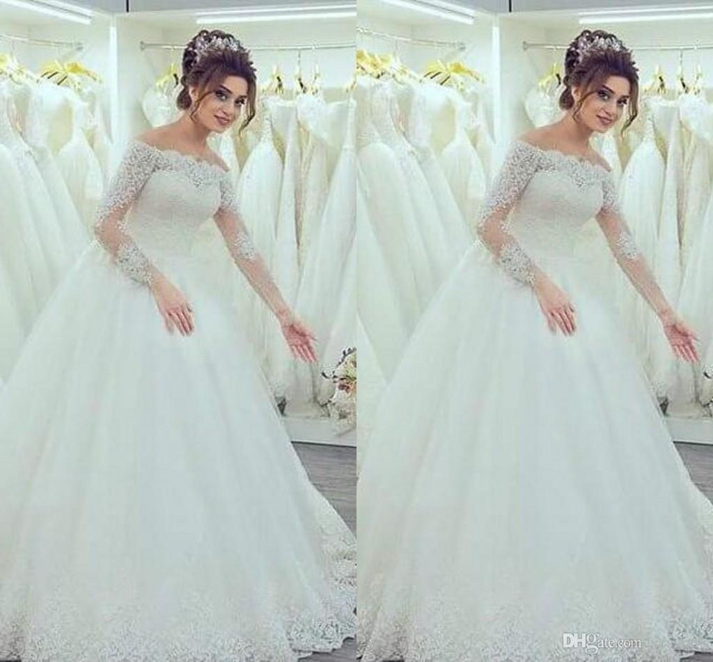 Discount 2016 New Arabic Vintage Wedding Dresses Off Shoulder Long ...
