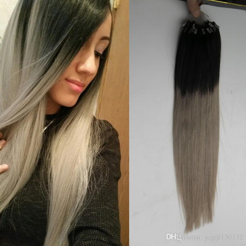 10 26 100g 7a Silver Grey Tape Extension Ombre Grey Hair Extensions