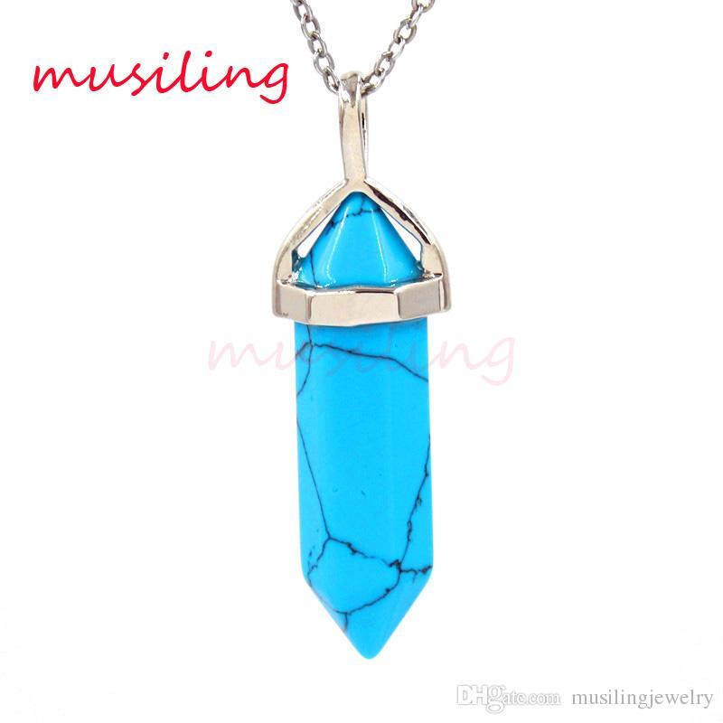 Mini Hexágono Prisma Pingentes pedra preciosa Pedra Natural Reiki Pêndulo Encantos Ametista Cristal Opala etc Pedra Europeia Venda Quente Moda Jóias