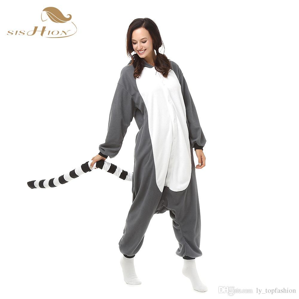 Unisexe Adulte Hommes Femmes Pyjamas En Peluche Une Pièce Singe Fête Des Animaux Costume De Noël Hiver Chaud Vêtements De Nuit OS0033