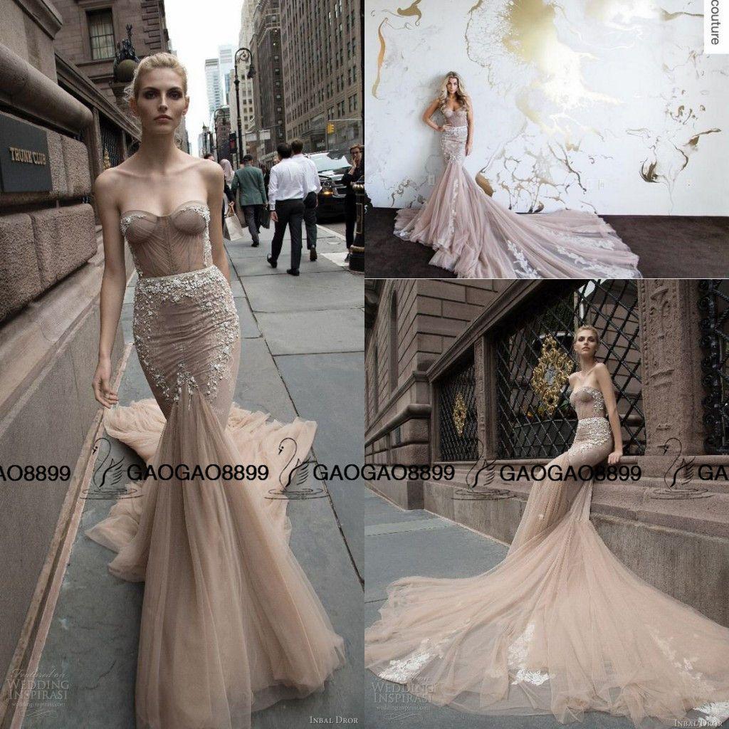 Inbal Dror 2016 Taupe Champagne Royal Train Beach Mermaid Wedding ...
