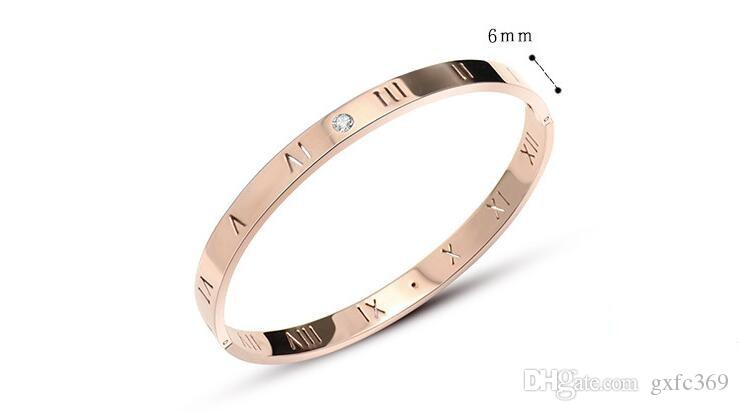 The new Roman numerals diamond rose gold bracelet women fashion stainless steel stainless steel jewelry