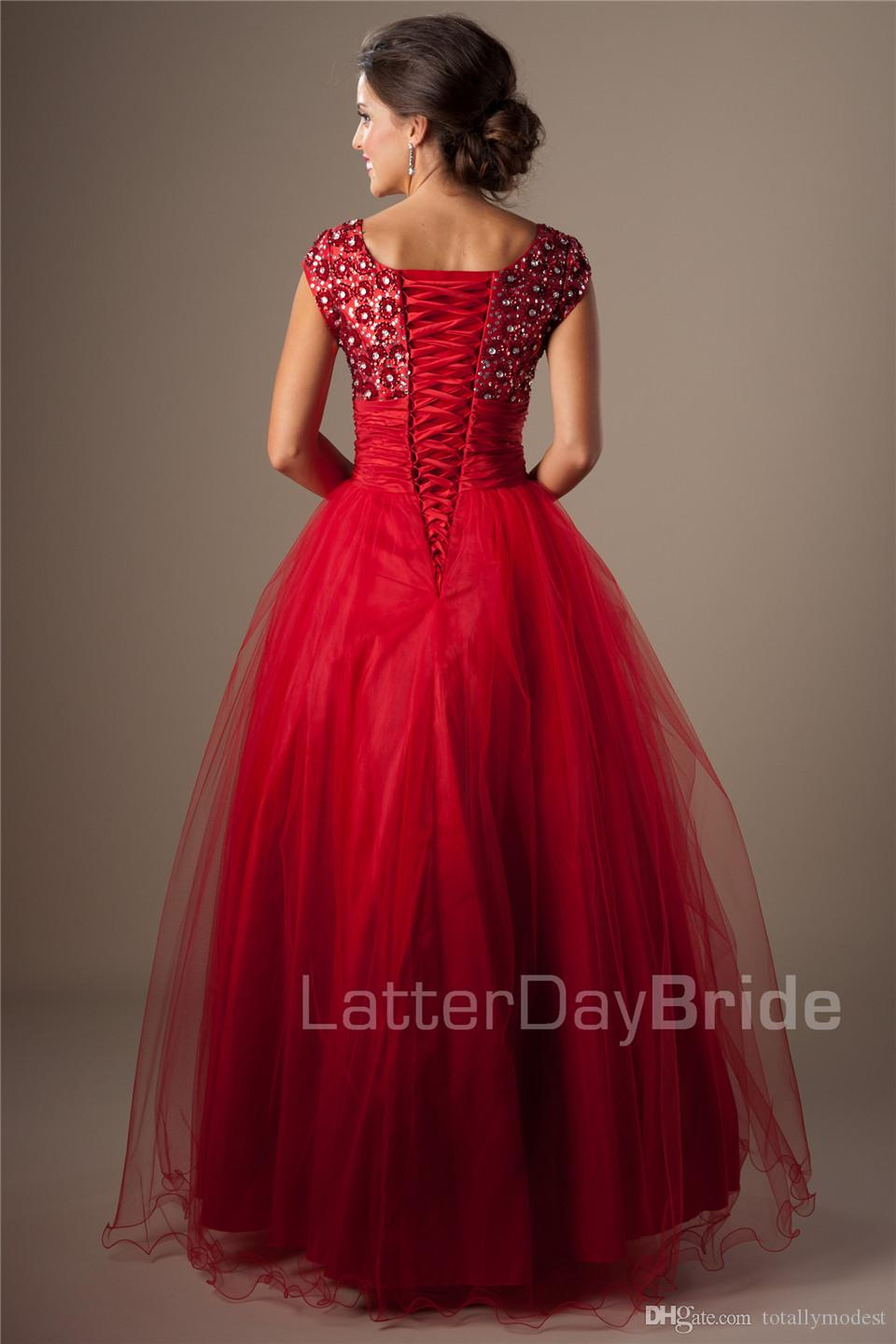 Red Ball Gown Modest Prom Dresses With Cap Sleeves Square Short Sleeves Prom Gowns 2016 Puffy A-line High School Formal Party Gowns Cheap