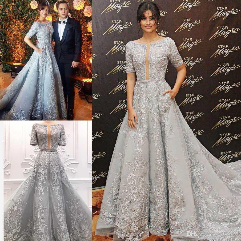 3450496131ecd Luxury Zuhair Murad 2018 Evening Dresses Lace Applique Beads Sweep Train  Silver A Line Prom Gowns Crystal Short Sleeve Party Formal Dress Long  Formal Gowns ...