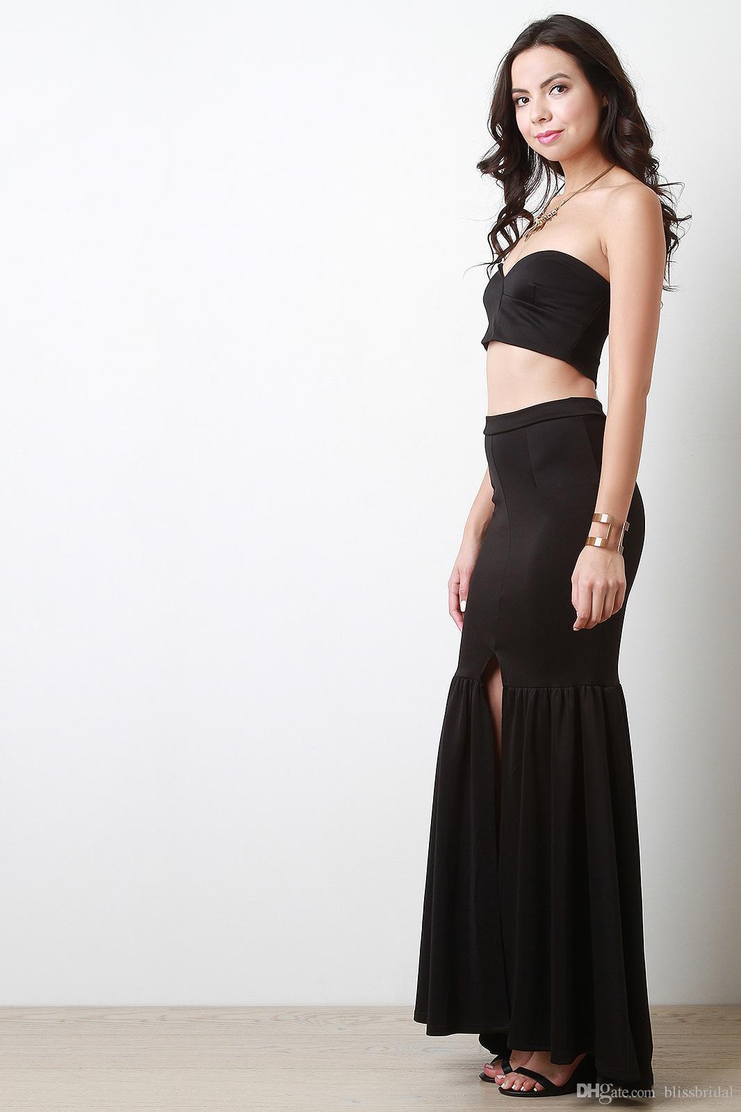 Gogerous Elastic Satin Girls Skirts Real Image Skirts for Girls Custom Made Pleats HighSplit Mermaid Skirts New Arrival