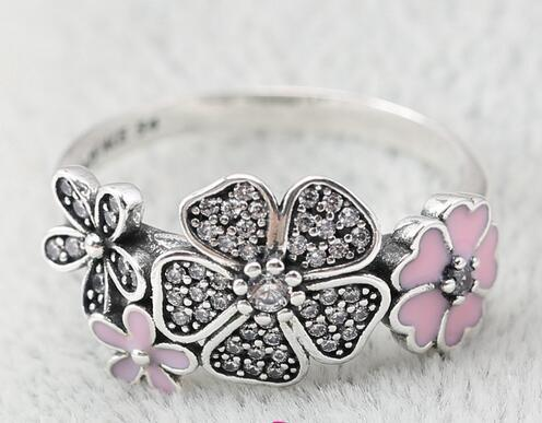 2016 new Silver Rring With Cubic Zirconia Authentic 925 sterling silver rings flowers Fit for pandora charms jewelry women DIY Fingers Ring