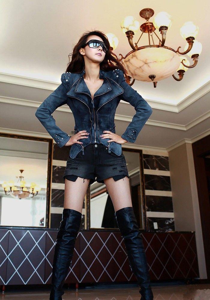 2016 SpringAutumn Vintage S XL Star Jeans Mujeres Punk Spike tachonado shrug Remache hombro Denim cosechado VINTAGE Chaqueta abrigo