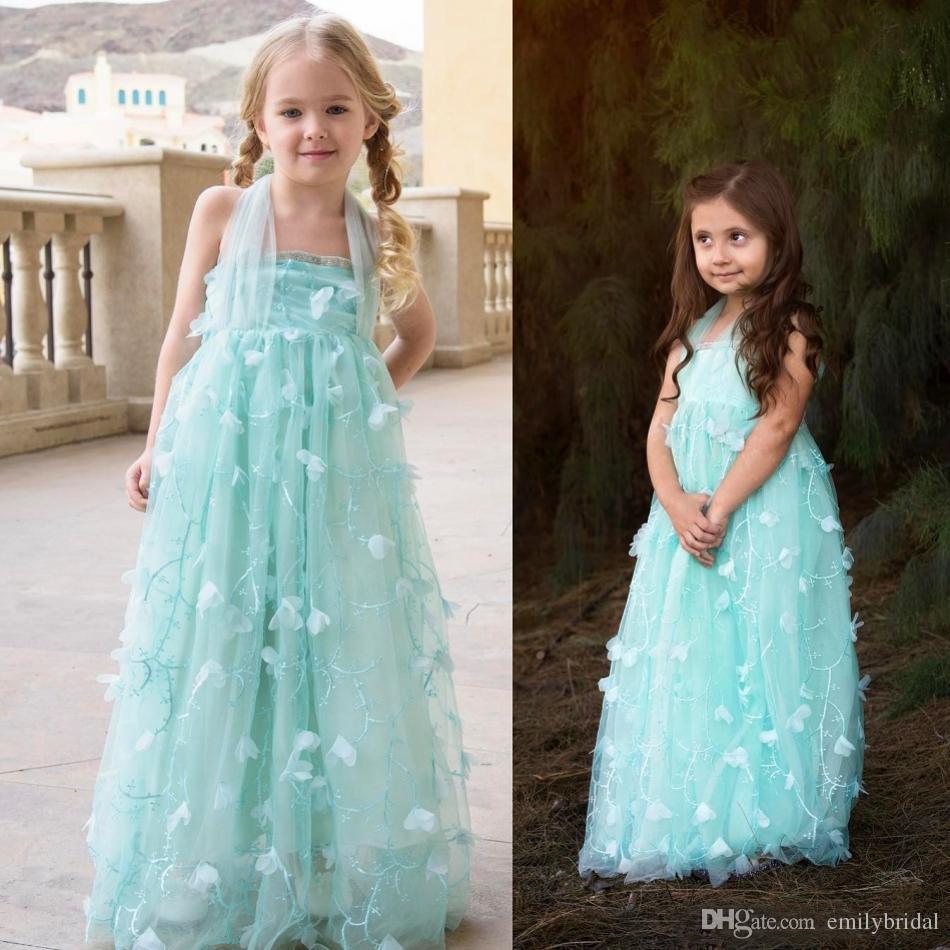 Beauty Mint Green Flower Girl Dress Sheer Halter Toddler Little