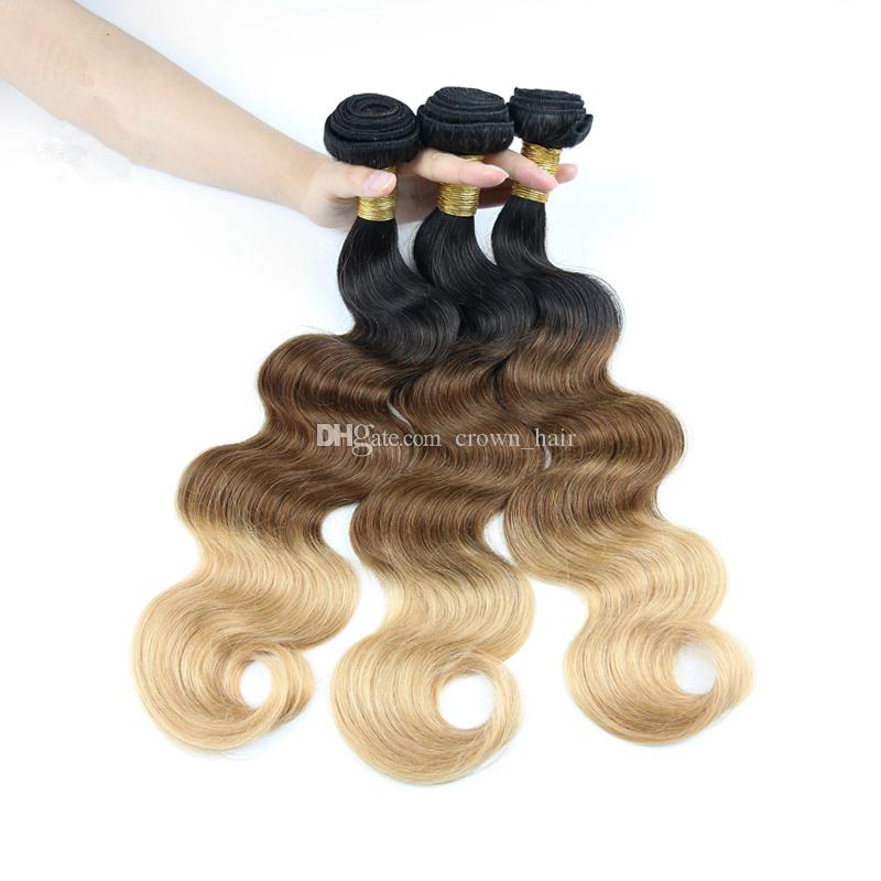 Honey Blonde #1B/4/27 Ombre Human Hair Bundles Peruvian Human Hair Weave Three Tone 1B/4/27 Ombre Hair Extensions