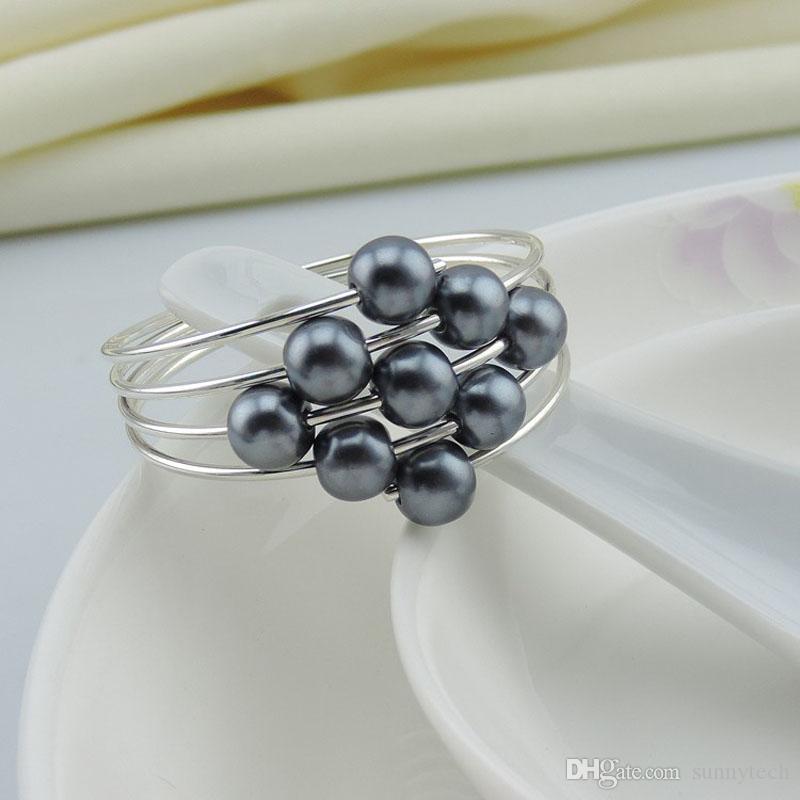 Pearls Metal Napkin Rings Serviette Holder Hotel Restaurant Wedding Supplies Table Decoration Accessories Wholesale ZA4424
