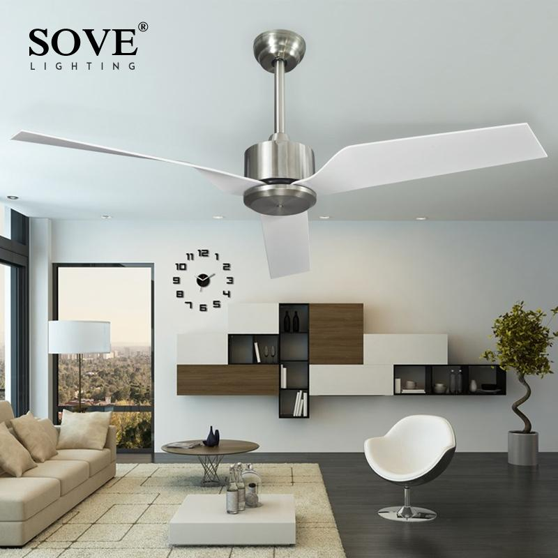 2018 Sove Modern White Ceiling Fans Without Light Remote Control Attic Plastic Blade Decoration Home Fan 220v Ventilador De Techo From I