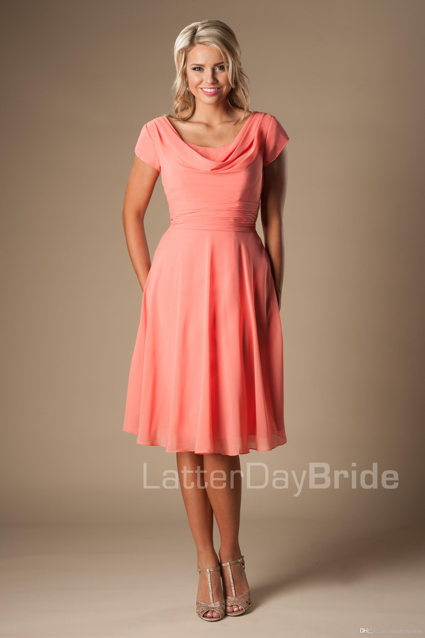 Coral chiffon short modest bridesmaid dresses with short sleeves a coral chiffon short modest bridesmaid dresses with short sleeves a line informal maids of honor dresses cap sleeves wedding party dresses rose bridesmaid ombrellifo Image collections