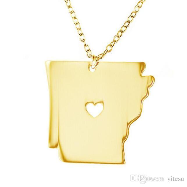 Arkansas kişiselleştirilmiş kolye, kişiselleştirilmiş kolye kartı, kalp kaplama ile kişiselleştirilmiş kartlı takılar altın çekicilik devlet,