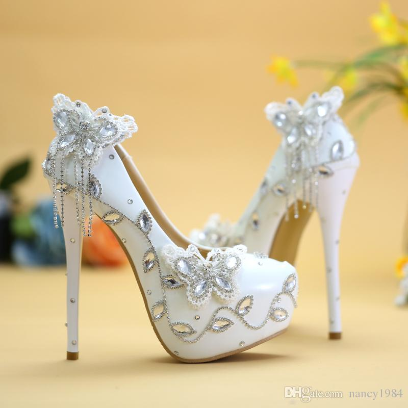 Sparkling Butterfly Wedding Shoes Crystal Bride Dress Shoes Elegant Women Dress Pumps Graduation Party Prom Shoes Platform Pump