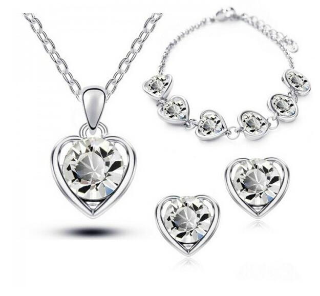 Jewelry Sets Fashion Accessories Heart Necklaces Earrings Bracelet Austrian Crystal For Woman Girls Gift Jewelry