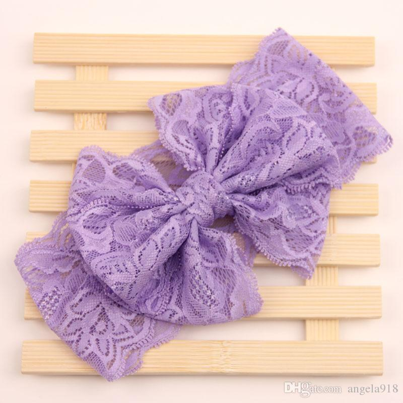 2016new Baby Lace Big bow Headbands Girls Cute Hair Band Infant Lovely Headwrap Children Bowknot Elastic Accessories E916