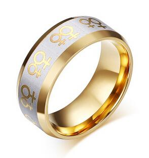 Gold Female Symbols Lesbian Pride Steel Ring With Lesbian Symbol