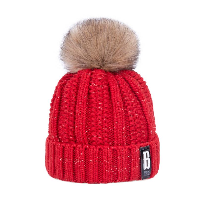 a60a23a3b0d1a 2019 2017 New Pom Poms Winter Hat For Women Fashion Solid Warm Hats Knitted  Beanies Cap Brand Thick Female Cap 003 From Luxury5555