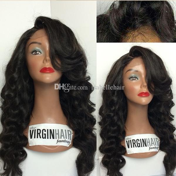 4 4 Silk Top Lace Front Wig With Bangs Full Lace Wig Human Hair