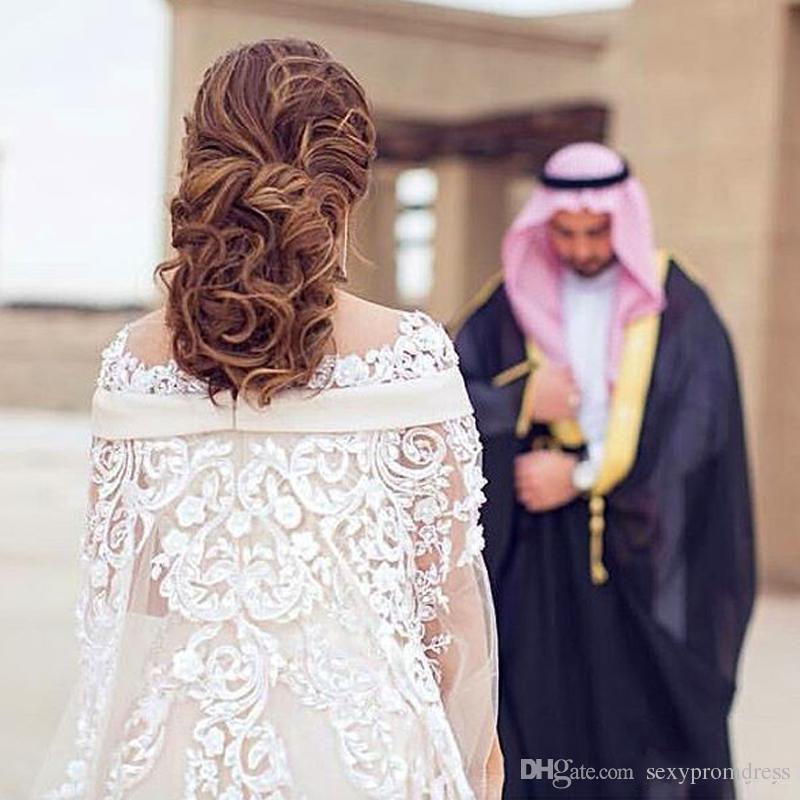 Dubai Lace Cape Style Wedding Dresses 2017 Bateau Neck 3D Flower Lace Maternity Destination Arabic Dress A Line Bridal Gowns Custom Made