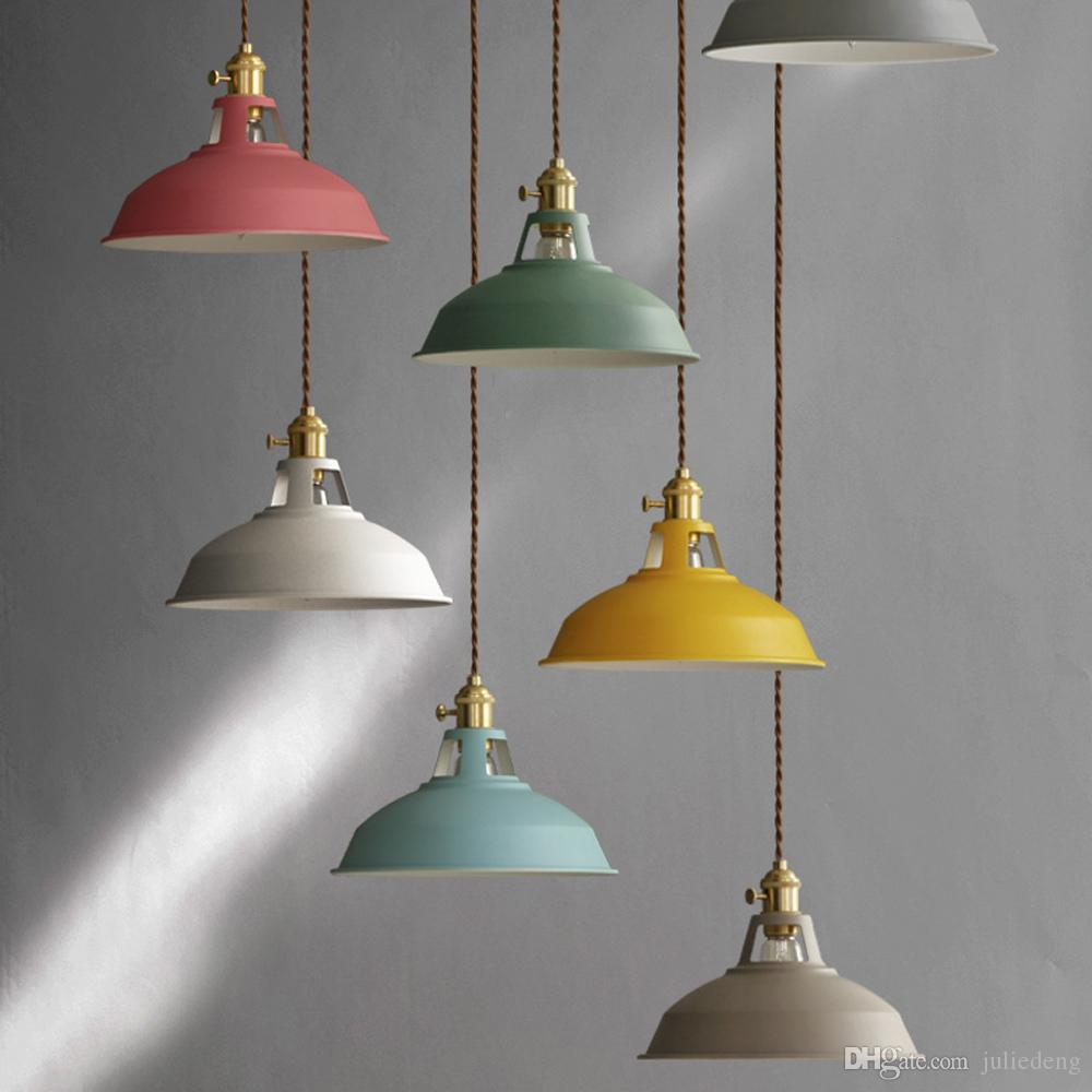 nordic lighting. Nordic Modern Macarons Hanging Lamp Single Head Pendant Pot Cover Design Colorful With Know Switch Industrial Style Lighting Plug In