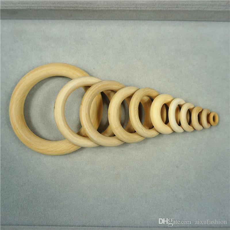 Natural Wooden Beads Connectors Circles Rings Beads Unfinished Wood Lead-Free Beads For DIY Bracelet Making 20-65mm