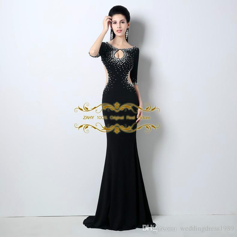 Unique style Scoop Sexy Little Cut Front Crystal Beaded Open Back Mermaid Prom Dresses Half Sleeves 2018 100% Real Image Prom Dress