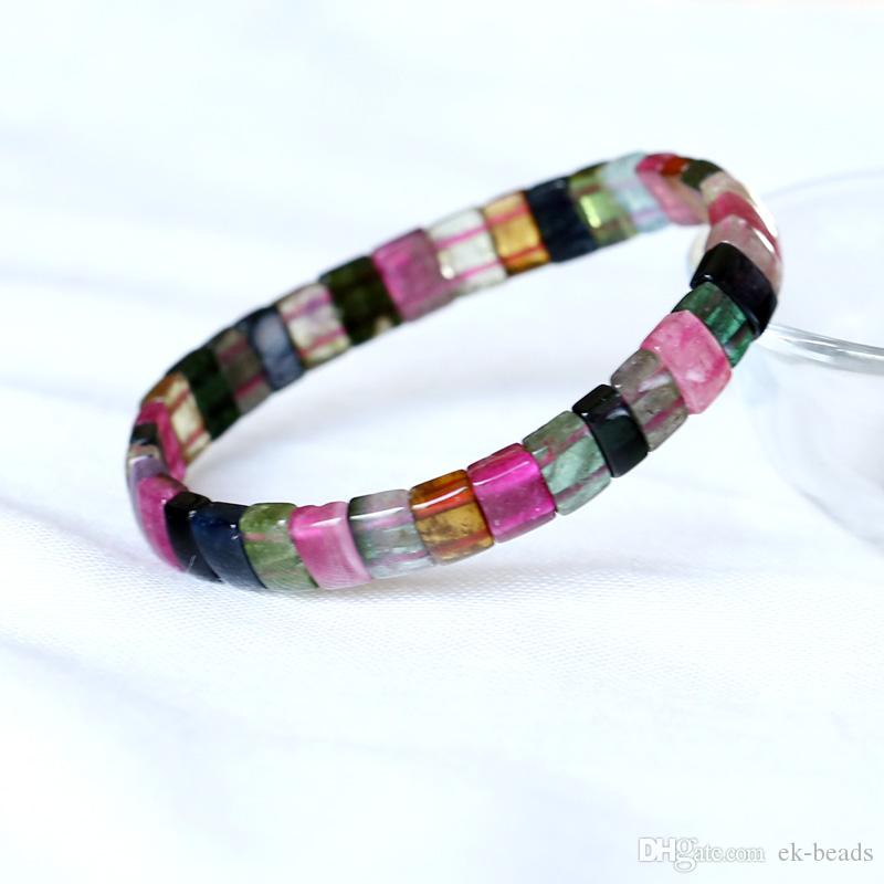 High Quality Natural Genuine Colorful Purple Green Pink Blue Tourmaline Multi-color Stretch Bracelet Flat Rectangle Beads 05024