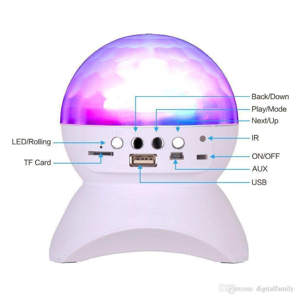 USB / TF / FM radyo ile Kontrolör RGB LED Kristal Sihirli Topu Etkisi Işık DJ Kulübü Disko Parti Aydınlatmalı Bluetooth Hoparlör Sahne Işıkları