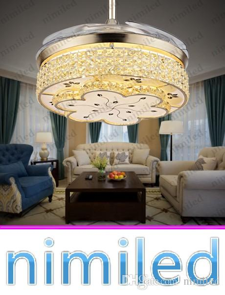 2017 Nimi914 Invisible Living Room Retractable Crystal Ceiling Fan Lights Restaurant Light Bedroom Modern Luxury Chandelier Pendant Lamps From Nimiled