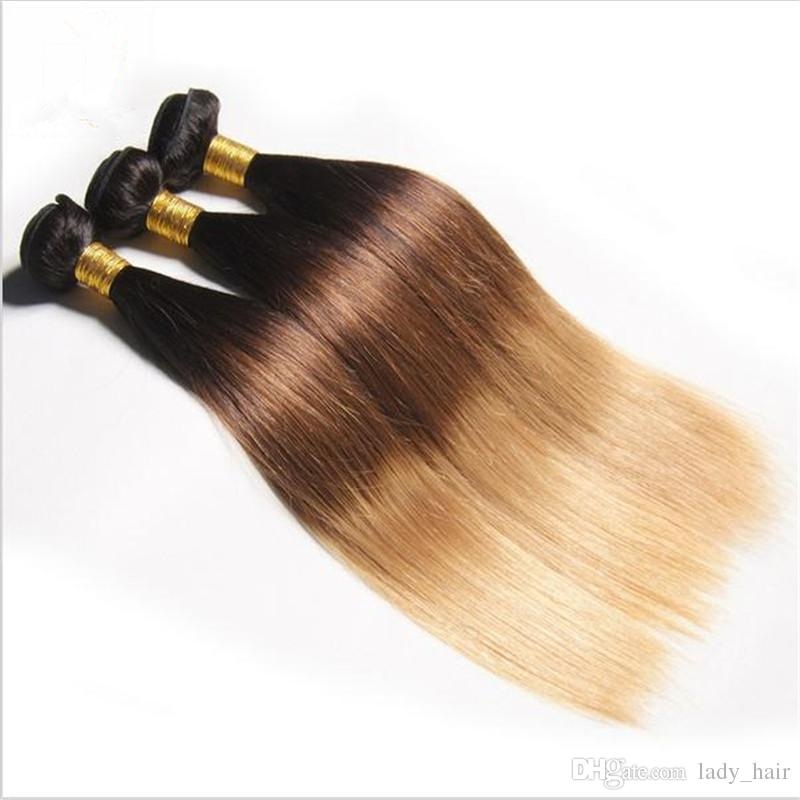 Virgin Malaysian #1B/4/27 Honey Blonde Ombre Hair Wefts Strawbery Blonde Ombre 3Bundles Straight Dark Roots Three Tone Colored Hair Weaves