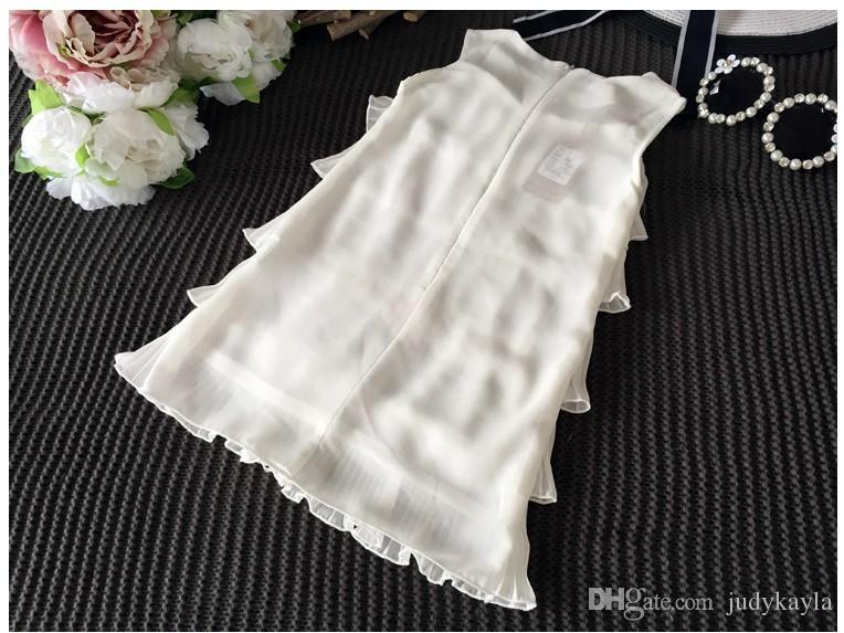 Sommar ny 2016 baby flicka prinsessa klänning barn ärmlös tårta klänningar barn kläder mode tjejer tutu kjol koreansk stil barn klänning