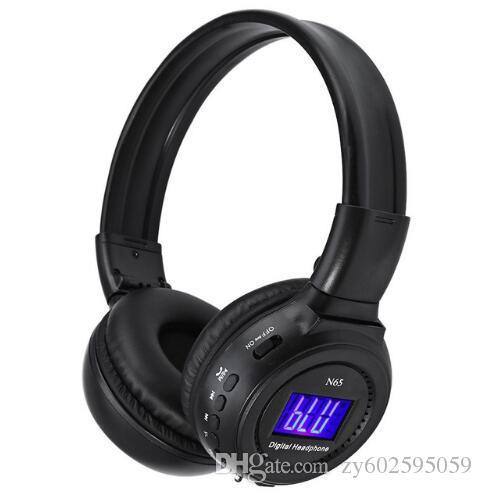 3c722e91c N65 fone de Ouvido Bluetooth Digital 4 em 1 Multifuncional de Graves  Profundos Dobrável Sem Fio Fone de Ouvido Estéreo Com Microfone de Rádio FM  LCD