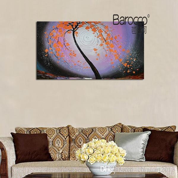 Reines handgemaltes Landschaftsölgemälde auf starker Leinwand-abstrakter Blumen-Baum-Ölgemälde-moderner Wandkunst-Dekoration für Haus