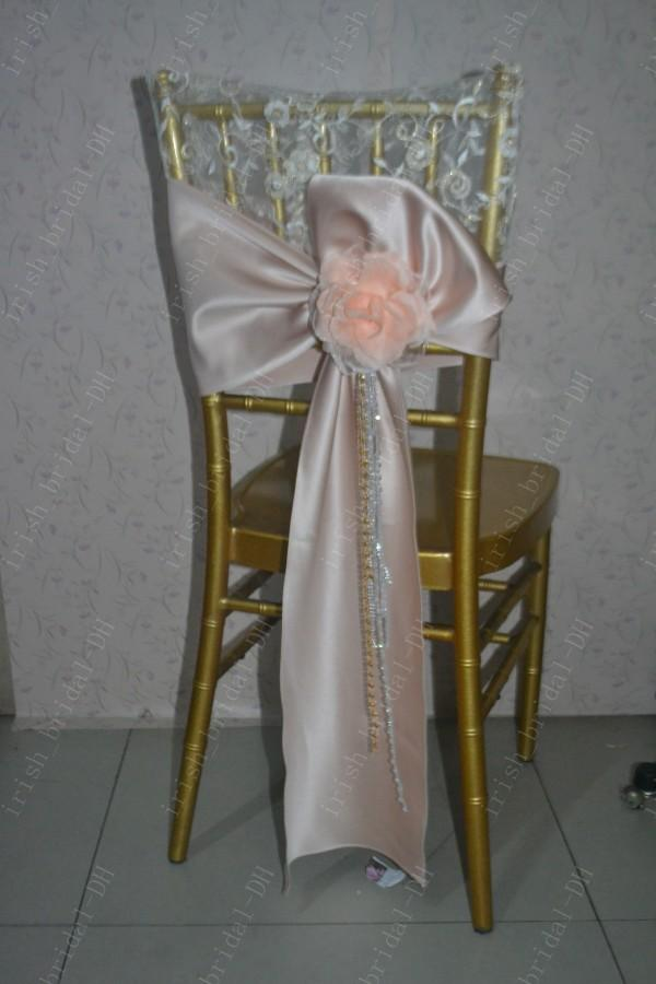 2016 Custom Made 3D Flower Lace Chair Covers Romantic Beautiful Satin Crystals Chair Sashes Cheap Wedding Chair Decorations 012
