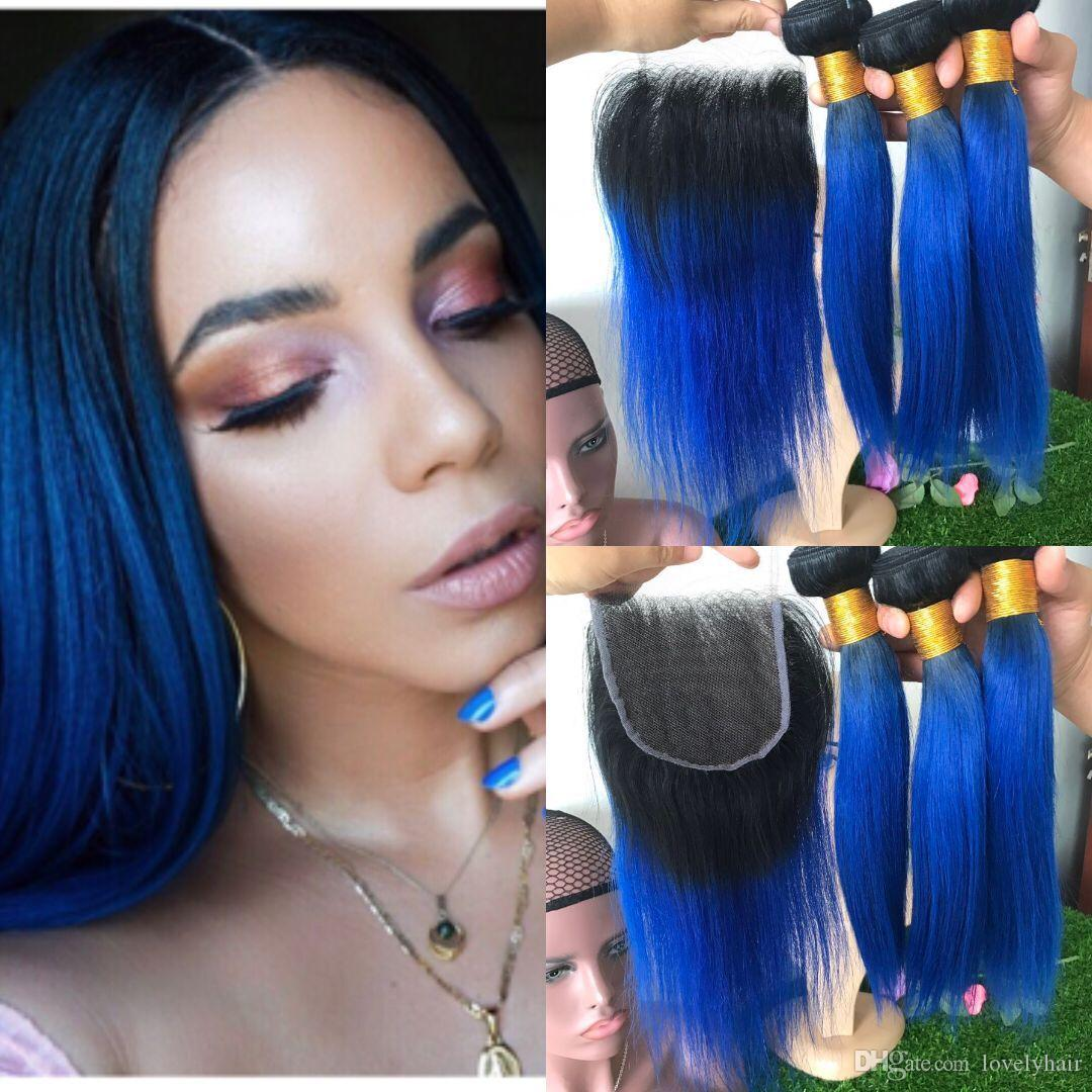 10a 1b Blue Hair 3 Bundles With Lace Closure Dark Roots Blue Ombre