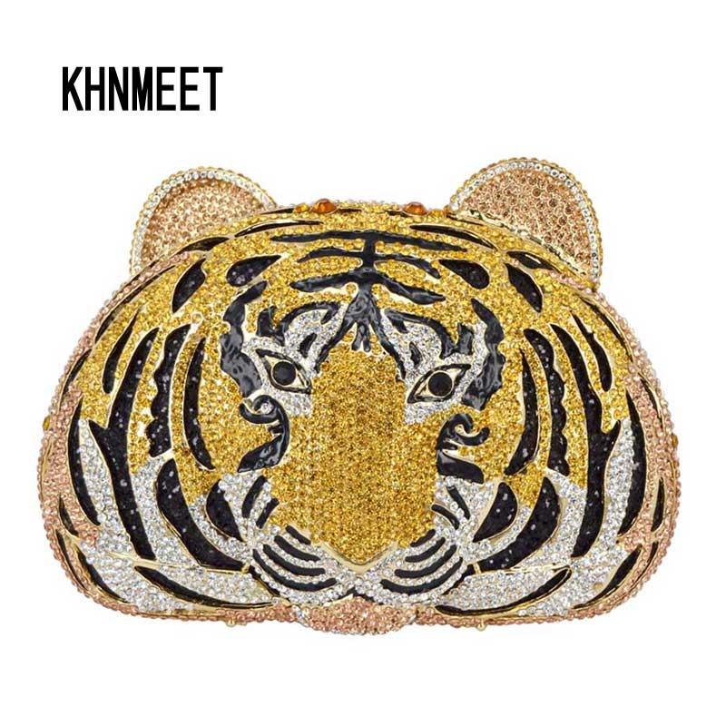 Animal full diamond Luxus Abendtasche Tiger Head Clutch Bag Frauen Diamante Hochzeit Geldbörse Taschen Kristall Abendtasche SC048