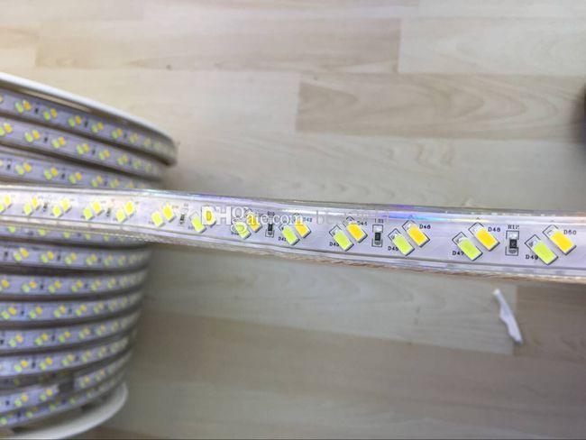 DERNIÈRES DE LED 120LÉDS / M 220V Bande de LED 5730 SMD Dimmable Tiras LED 220V 5630 Lumière de corde flexible pour la décoration de la maison avec prise d'énergie libre