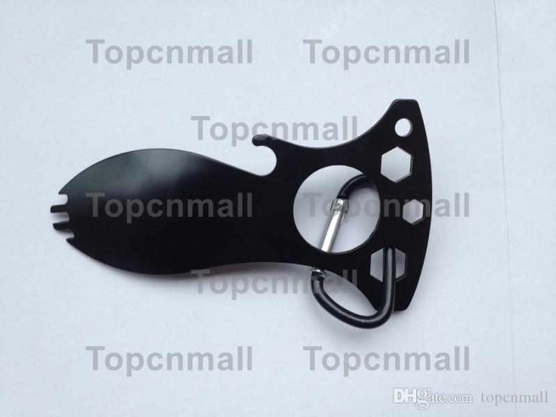 Wholesale - New Eat N Tool Spork Bottle Opener 9100C Carry Carabiner for camping Tool TPML-8692