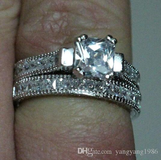 Size 5/6/7/8/9/10 Antique jewelry Nice princess Cut Topaz 14KT White Gold Filled GF Diamonique Wedding Ring Set for love gift