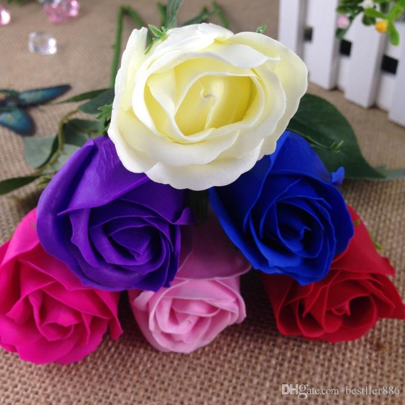 Cadeau de Saint Valentin Bain pour le Corps Rose Pétale Fleur Savons Parfait Comme Faveurs de Mariage / Cadeaux D'anniversaire ou Décoration 6 Couleurs Savon Fleur Rose Hot
