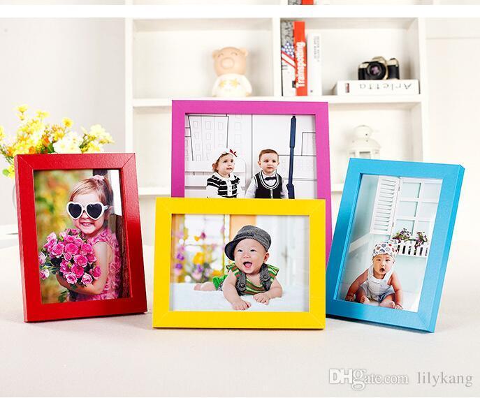 8.9x12.7cm Material Madeira Photo Frame retrato de madeira branco casamento móveis framesFestival decorar artesanato quadros presente do negócio