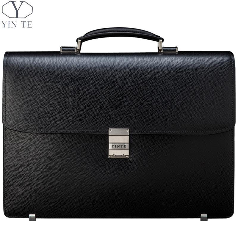 Wholesale YINTE Men S Black Briefcases Classic Leather Big Business Bag  Zipper Working Office Bags Thick And Wide Totes Portfolio T8556 5 Attache  Briefcase ... 0c29d2443b6c